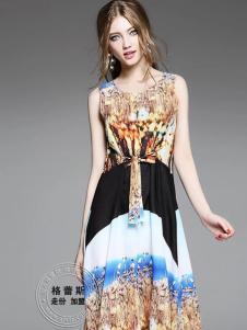 格蕾斯春夏印花撞色连衣裙