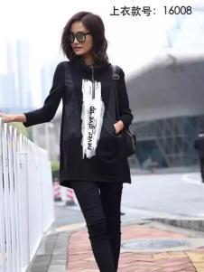 HUAZIYI花梓伊女装黑色高领卫衣