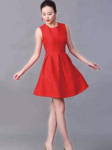 华艺嘉年女装收腰A版红色连衣裙