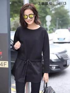 HUAZIYI花梓伊女装黑色圆领上衣