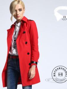华人杰女装红色双排扣风衣
