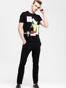 佐纳利男士黑色T恤