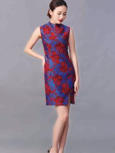华艺嘉年女装无袖开衩印花旗袍