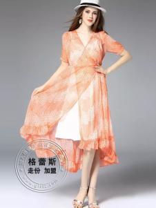 格蕾斯雪纺假两件连衣裙