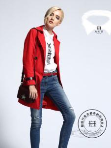 华人杰女装大红色风衣