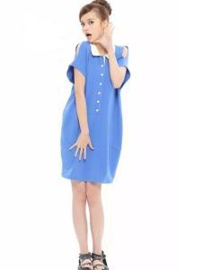 花木马女装蓝色露肩连衣裙