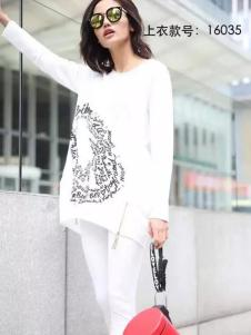 HUAZIYI花梓伊女装白色印花T恤