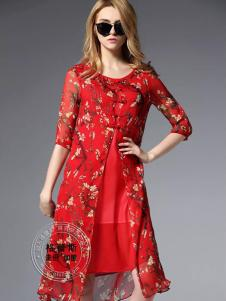 格蕾斯红色印花假两件连衣裙