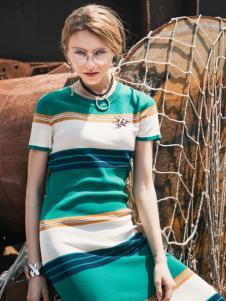 威丝曼新款条纹连衣裙