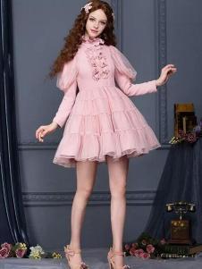 花儿开了女装粉色褶裙