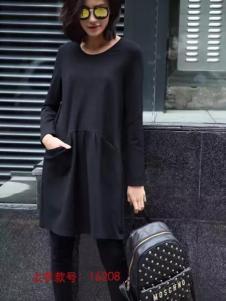 HUAZIYI花梓伊女装黑色宽松连衣裙