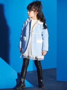 妈咪之星童装蓝色呢大衣