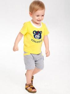 婴姿坊婴童装男童黄色卡通印花T恤