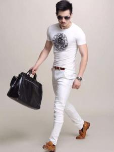 积客绅男装新款白色T恤