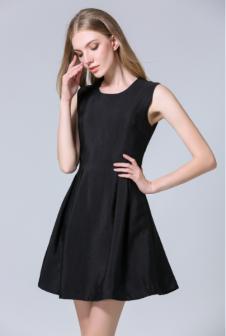 茜诗迪女装2017年春夏新款黑色收腰连衣裙