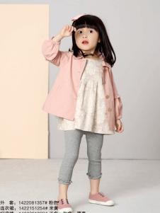 兔子杰罗女童粉色A字外套