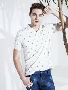 翡翠男装白色衬衣领短袖T恤