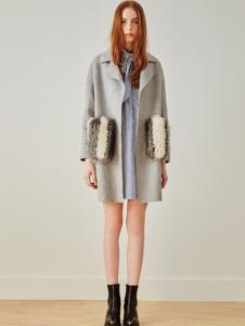 MOFAN摩凡女装灰色翻领呢大衣