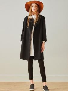 MOFAN摩凡女装黑色中长款外套