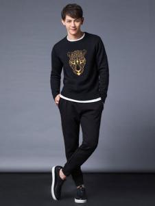 Cabbeen卡宾男装动物印花黑色T恤