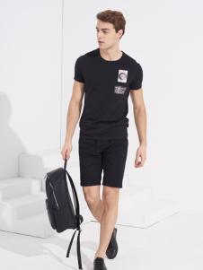 翡翠男装黑色短袖圆领T恤