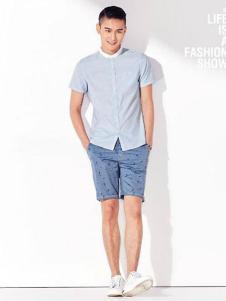 JAMSUN积上风尚男装蓝色衬衫