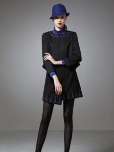 珈姿莱尔女装黑色无领大衣