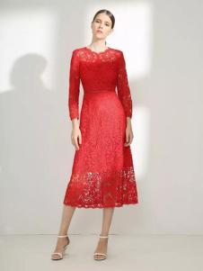 季候风女装2017春夏新品红色蕾丝长裙