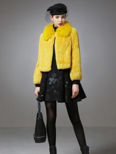 珈姿莱尔女装黄色毛绒外套