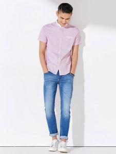 JAMSUN积上风尚男装粉色衬衫