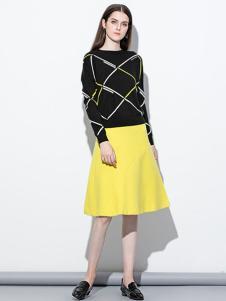 季候风女装嫩黄色A版裙