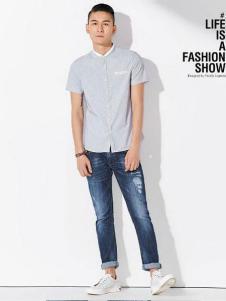JAMSUN积上风尚男装灰色小白领衬衫