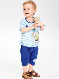 婴姿坊婴童装男童蓝色T恤