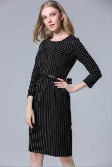 茜诗迪女装2017年春夏新款黑色条纹裙
