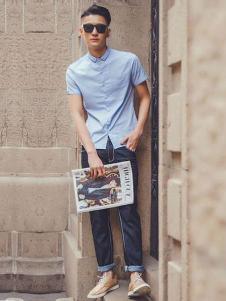 JAMSUN积上风尚男装翻领短袖衬衫