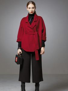 珈姿莱尔女装酒红色宽松大衣外套