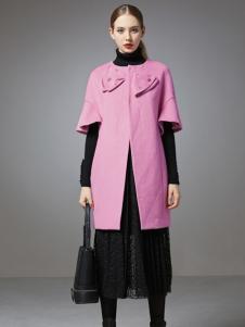 珈姿莱尔女装粉色无领大衣