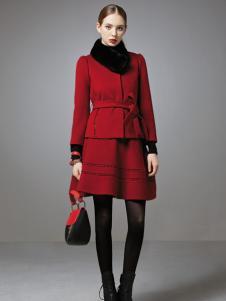 珈姿莱尔女装酒红色套装
