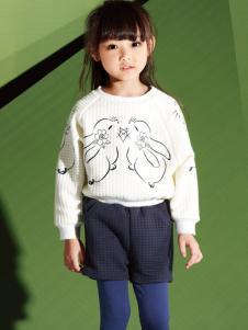 妈咪之星婴童装白色印花T恤