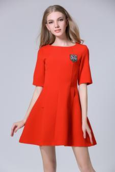 茜诗迪女装2017年春夏新款红色收腰女裙