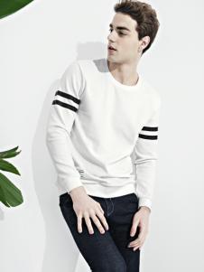 翡翠男装2017春季白色长袖T恤