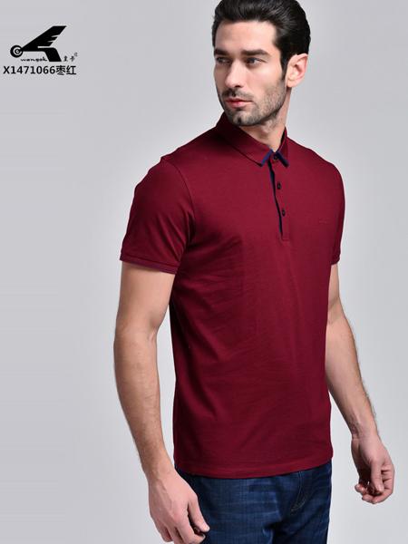 皇卡男装2017红色衬衣领T恤