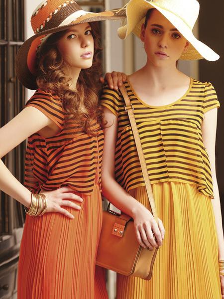 薇妮兰黄色条纹假两件连衣裙
