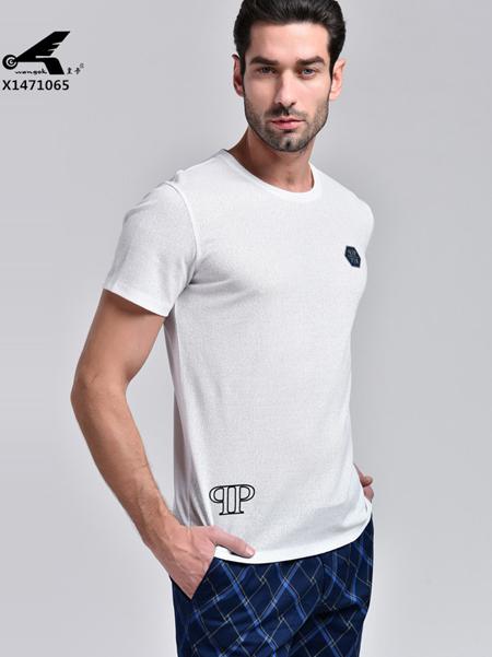 皇卡男装2017白色圆领T恤