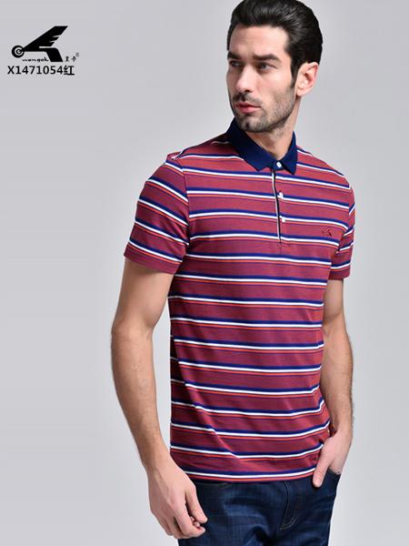 皇卡男装2017红色条纹衬衣领T恤