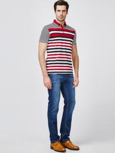 JOSFOND杰思梵男装红黑白条纹T恤