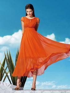 江韵古歌女装橙黄色收腰双层裙