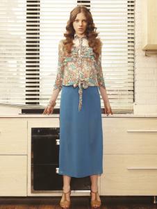 薇妮兰天蓝色雪纺半裙