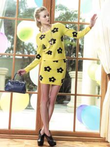 薇妮兰春夏黄色印花套装