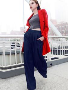 嘉奈芘女装红色大衣